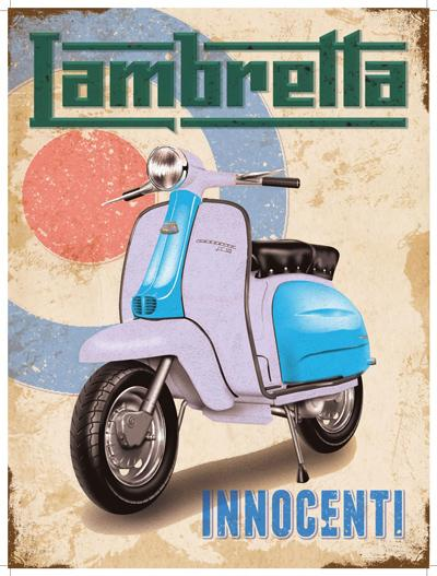 Lambretta - Innocenti. Blue and white on Mod target. Scooter Moped. For house, home or garage or cafe or pu Large Steel Wall Sign
