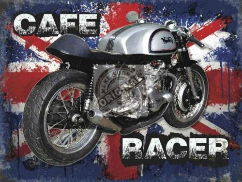Norton Cafe Racer on Union Jack Background. Classic  Metal/Steel Wall Sign