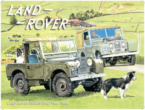 land-rover-series-1-mk1-mki-in-original-green-on-the-farm-with-sheep-dogs-for-house-home-farm-bar-or-pub-metal-steel-wall-sign