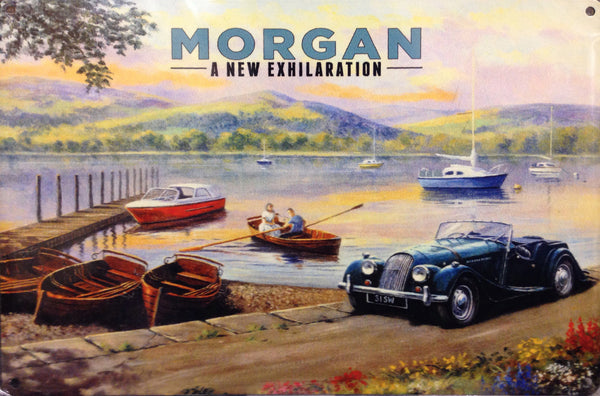 Morgan at the side of the lake. Lake district, Windermere. Blue British sports motor car. Couple in rowing boat. For house, home, garage, pub or  Large Steel Wall Sign
