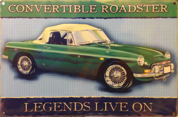 Green Convertible Roaster. Legends live on. British motor car. For house, home, office, garage, pub or  Large Steel Wall Sign