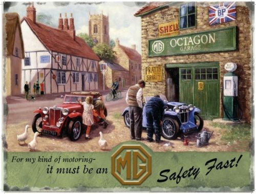mg-classic-car-garage-in-a-rural-village-metal-steel-wall-sign