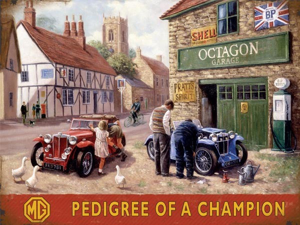 pedigree-of-a-champion-mg-village-octagon-garage-shell-and-bp-classic-british-motor-car-ideal-for-garage-house-home-or-shed-metal-steel-wall-sign