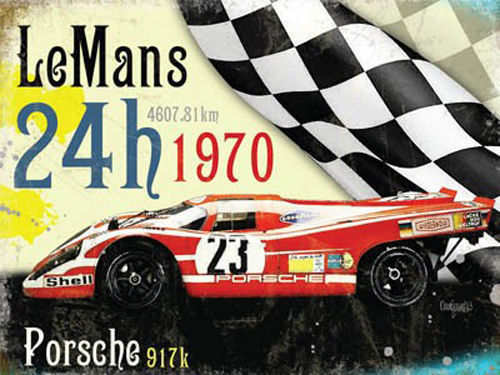 Le Mans 24h 1970 winner, Porsche in red. German racing motor car, for house, home, petrol head, bedroom, pub or ba Large Steel Wall Sign
