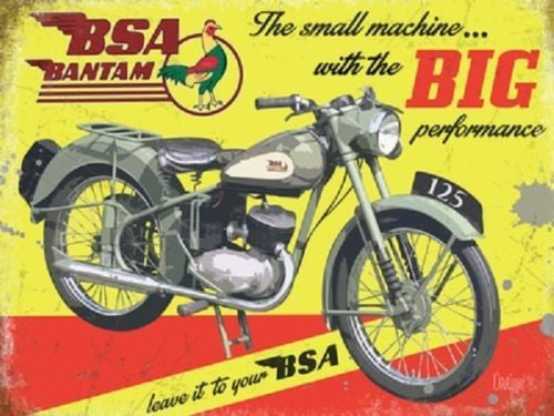 bsa-bantam-motor-cycle-bike-in-green-grey-on-yellow-back-ground-old-vintage-advert-for-house-home-bar-pub-or-garage-metal-steel-wall-sign