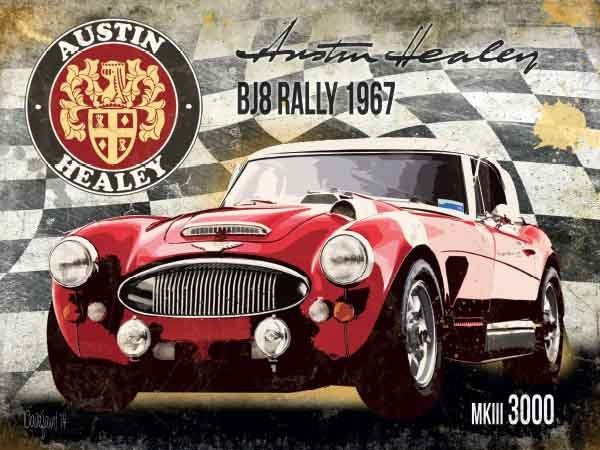 austin-healey-bj8-rally-1967-mkiii-3000-mk3-three-red-classic-sports-car-badge-and-signature-racing-flag-metal-steel-wall-sign