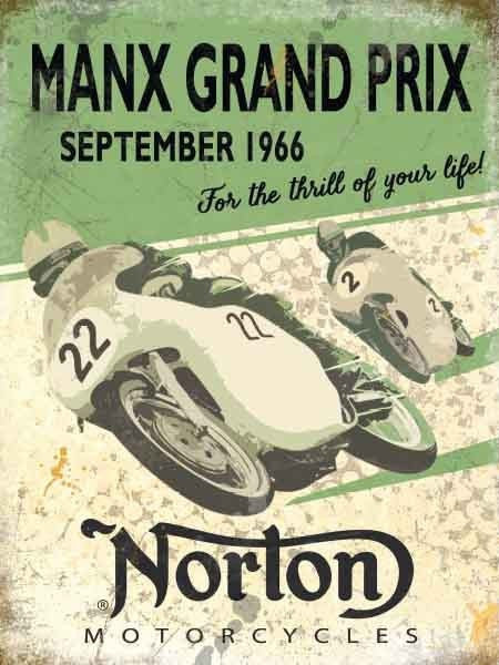 norton-manx-grand-prix-september-1966-for-the-thrill-of-your-life-green-print-classic-motor-bike-cycle-racing-race-road-racing-british-classic-bike-old-retro-vintage-design-metal-steel-wall-sign