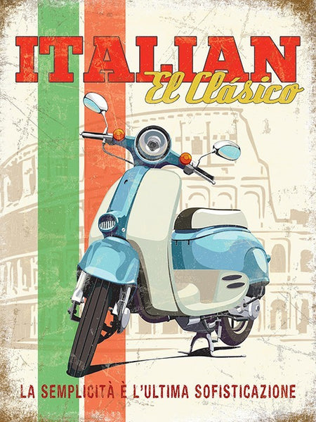 italian-el-clasico-blue-and-white-scooter-classic-moped-scooter-vespa-mods-rome-coliseum-in-background-flag-colours-stripes-ideal-for-house-home-garage-shed-man-cave-bar-pub-cafe-or-shop-metal-steel-wall-sign
