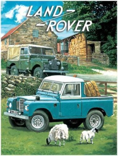 land-rover-pick-up-cab-flat-bed-hay-bales-sheep-on-farm-mk1-mki-mk2-mkii-4x4-blue-and-green-for-house-home-garage-farm-pub-and-bar-metal-steel-wall-sign