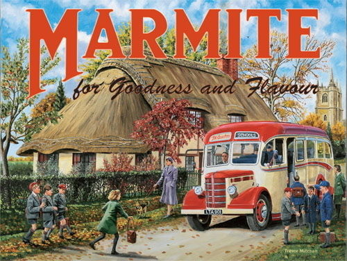 Marmite. Old vintage, retro advert with school Metal/Steel Wall Sign