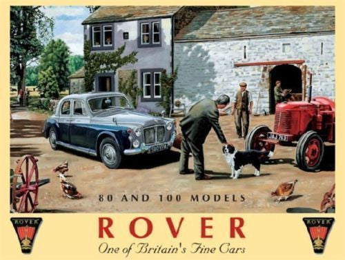 rover-80-and-100-on-farm-yard-british-motor-car-and-tractor-rover-badge-for-home-house-farm-garage-or-pub-metal-steel-wall-sign