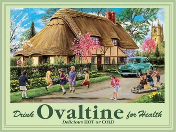 drink-ovaltine-vintage-old-retro-advert-morris-children-playing-in-countryside-next-to-thatched-cottage-for-house-home-kitchen-pub-or-cafe-metal-steel-wall-sign