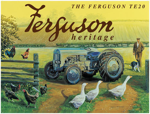 ferguson-te20-blue-vintage-tractor-on-farm-farmer-animals-sheep-dog-and-geese-metal-steel-wall-sign