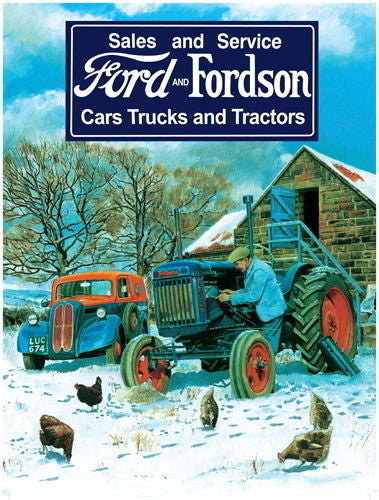 ford-fordson-vintage-sales-and-service-old-car-tractor-on-the-farm-in-winter-blue-tractor-and-mechanic-metal-steel-wall-sign