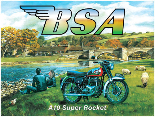 bsa-a10-super-rocket-motor-cycle-bike-couple-in-leathers-on-a-day-trip-the-countryside-river-for-house-home-bar-or-pub-metal-steel-wall-sign