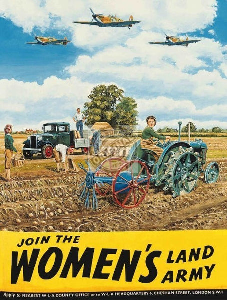 join-the-woman-s-land-army-ww2-spitfires-tractor-for-house-home-bar-pub-or-cafe-metal-steel-wall-sign