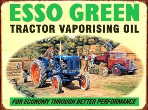 esso-green-tractor-vaporing-oil-blue-tractor-and-red-truck-on-the-farm-motor-engine-old-vintage-advert-for-house-garage-pub-or-bar-metal-steel-wall-sign
