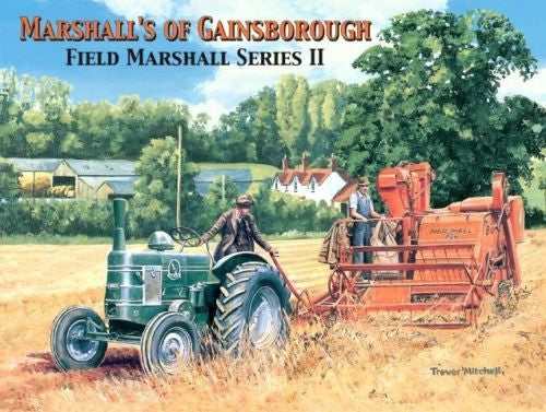 trevor-mitchell-marshalls-of-gainsborough-field-marshall-series-ii-2-green-tractor-red-harvester-in-field-old-vintage-picture-painting-for-house-home-pub-or-bar-metal-steel-wall-sign