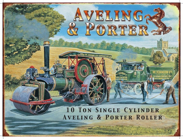 aveling-porter-10-ton-single-cylinder-roller-steam-roller-tar-mac-country-road-w-johnson-early-road-workers-golden-age-of-steam-contractors-horse-metal-steel-wall-sign