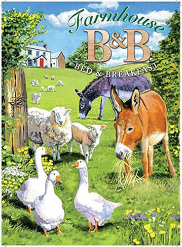 Farmhouse B&B, Bed and breakfast, donkey, farm animals. Moors. Fridge Magnet