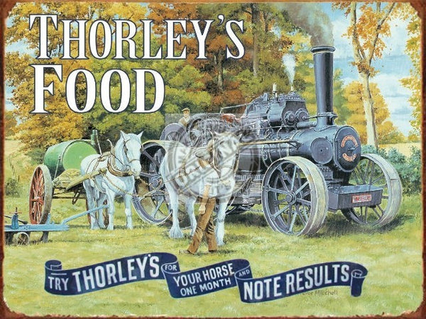 thorley-s-food-for-your-horse-horses-with-steam-engine-on-the-farm-white-shire-pulling-plough-and-tank-metal-steel-wall-sign