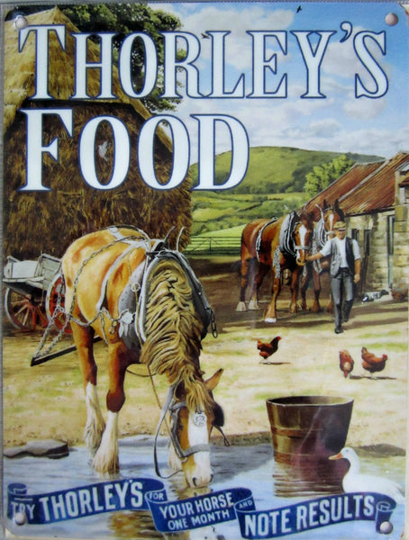thorley-s-horse-food-horse-drinking-from-a-puddle-next-to-a-bucket-on-the-farm-farmer-chickens-and-hay-bales-working-horse-for-house-home-or-pub-metal-steel-wall-sign