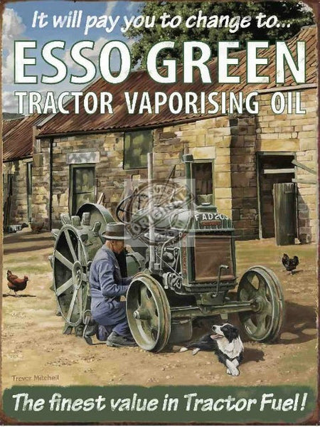 esso-green-tractor-vaporising-oil-on-the-farm-with-farmer-and-sheep-dog-tractor-oils-advert-for-house-home-pub-bar-or-shop-or-garage-metal-steel-wall-sign