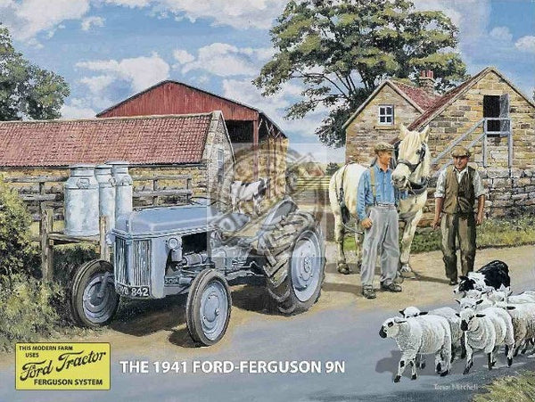 classic-ford-ferguson-9n-tractor-old-vintage-dairy-farm-1941-on-the-farm-with-sheep-and-sheep-dog-milk-churns-and-grey-tractor-metal-steel-wall-sign