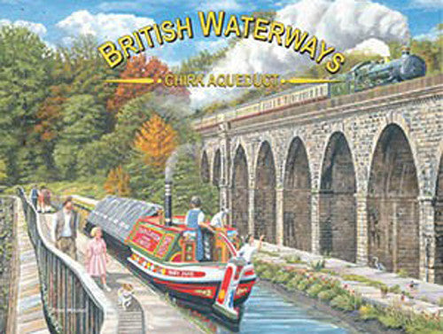 british-waterways-chirk-aqueduct-barge-on-the-canal-with-steam-train-on-the-bridge-flying-scotsman-walk-in-the-country-metal-steel-wall-sign