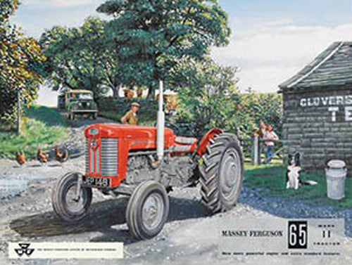 massey-ferguson-65-red-tractor-on-the-farm-sheep-dog-and-children-green-land-rover-mk1-mki-in-back-ground-landy-for-house-home-farm-pub-or-bar-metal-steel-wall-sign