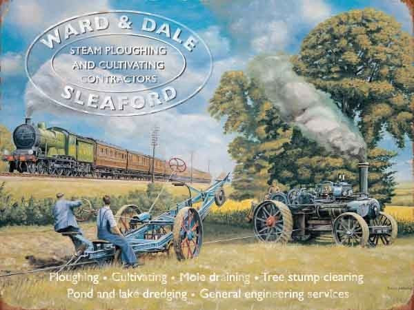 ward-dale-sleaford-steam-ploughing-field-steam-traction-engine-steam-locomotive-going-past-flying-scotsman-advert-for-local-tradesman-for-house-home-bar-or-pub-metal-steel-wall-sign