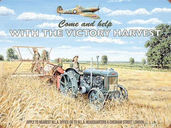 come-and-help-with-the-victory-harvest-wla-office-spitfire-flying-over-women-harvesting-field-crops-corn-wheat-etc-hay-world-war-2-wwii-1930-s-1940-s-land-army-old-advert-to-recruit-women-to-help-the-war-effort-metal-steel-wall-sign