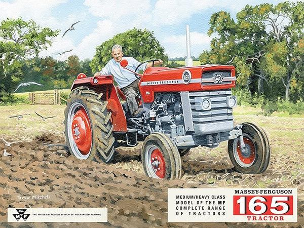 massey-ferguson-165-tractor-red-farmer-ploughing-field-medium-heavy-class-painted-advert-ideal-for-house-home-kitchen-garage-shop-or-shed-or-pub-metal-steel-wall-sign