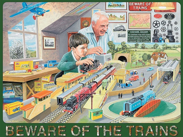 model-trains-beware-of-the-trains-man-and-boy-grandfather-and-grandson-playing-with-toy-trains-mallard-flying-scotsman-painting-signs-and-maps-in-the-background-planes-hornby-station-fun-times-attic-metal-steel-wall-sign