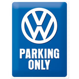 VW Parking Only Volkswagen Car Old Camper Classic. Dub. Veedub. Novelty sign. Logo on blue background.  3D Large Steel Wall Sign
