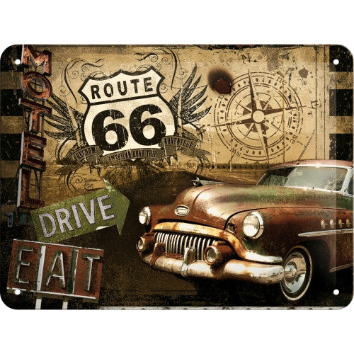 route-66-caddilac-50s-60s-american-car-motel-diner-3d-metal-steel-wall-sign