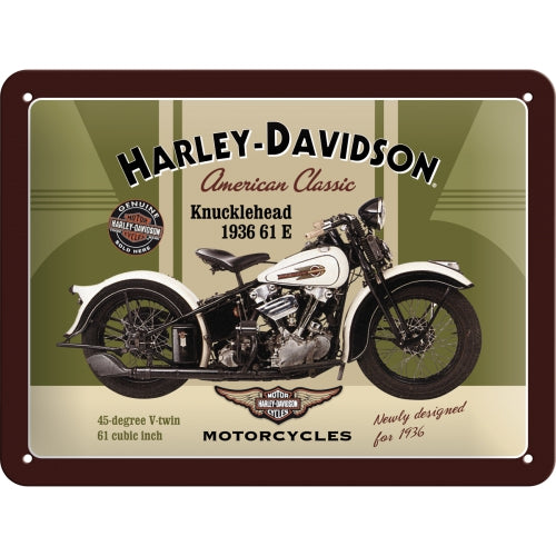 Harley Davidson Classic Knucklehead Motorcycle Bike 3D Small Steel Wall Sign
