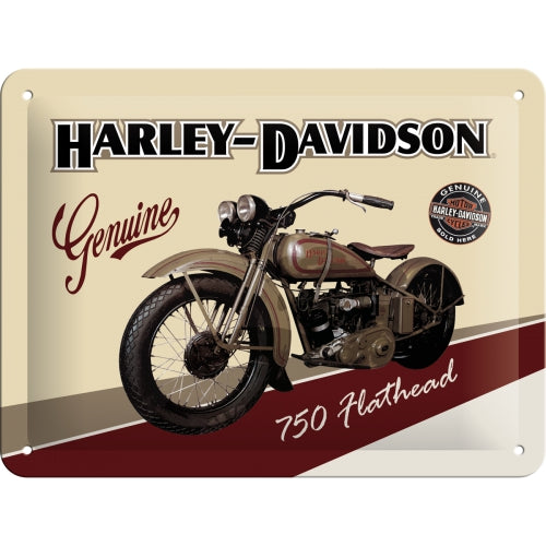 Harley Davidson 750 Flathead Motorcycle Motorbike 3D Small Steel Wall Sign