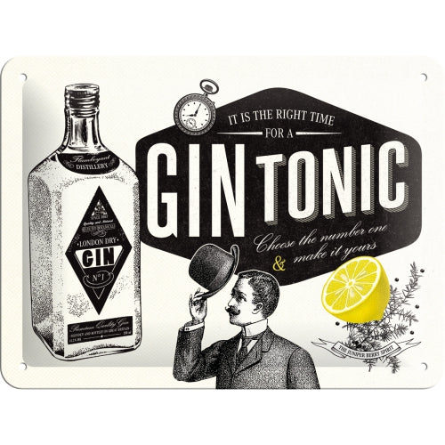 Gin Tonic Cocktail Bar Pub Drink Retro Shabby Chic Embossed 3D Small Steel Wall Sign
