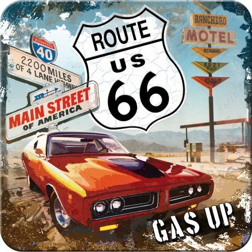 Route 66 Gas Up Dodge Charger Car American Muscle Icon Gift Cup / Mug Coaster