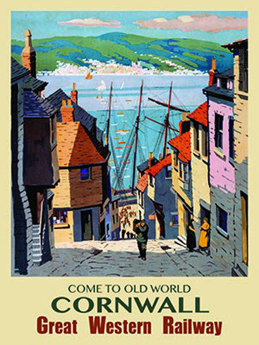 come-to-old-world-cornwall-cobbles-great-western-railway-old-vintage-retro-advert-with-fisherman-and-harbour-print-style-image-for-house-home-bathroom-bar-pub-metal-steel-wall-sign