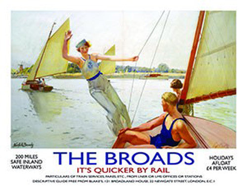 the-broads-norfolk-old-retro-vintage-holiday-advert-day-on-the-water-boating-sailing-1920-s-era-painting-for-house-home-bar-pub-or-shop-or-bathroom-its-quicker-by-rail-train-stream-locomotive-engine-metal-steel-wall-sign