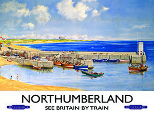 northumberland-see-britain-by-train-old-retro-vintage-holiday-advert-harbour-and-boats-steam-engine-locomotive-early-20th-century-metal-steel-wall-sign