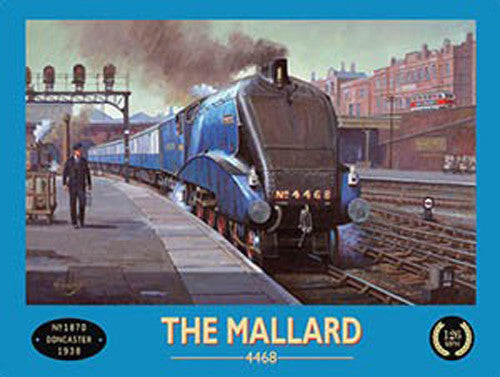 the-mallard-in-the-train-station-4468-doncaster-blue-train-locomotion-steam-engine-station-porter-retro-vintage-advert-for-house-home-bar-pub-or-shop-metal-steel-wall-sign
