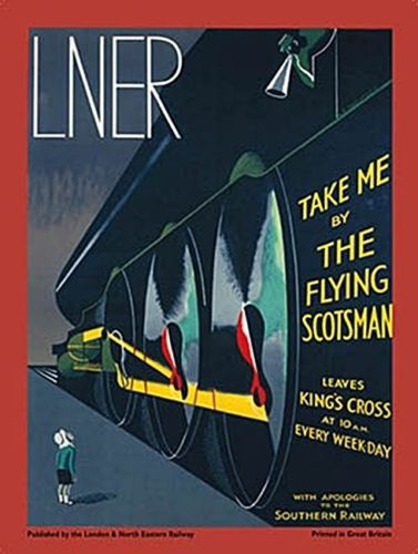 LNER Flying Scotsman. Art deco retro vintage advert for steam train, locomotive. Small child looking up at the train. For house, home, kitchen, bar, pub or clu Large Steel Wall Sign