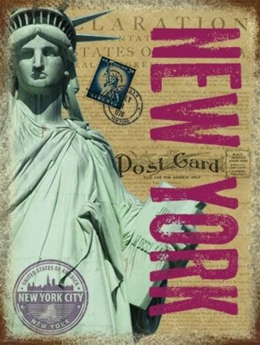 New York Post Card with Statue of Liberty. USA, America. For house, home, bar, pub or kitche Medium Steel Wall Sign