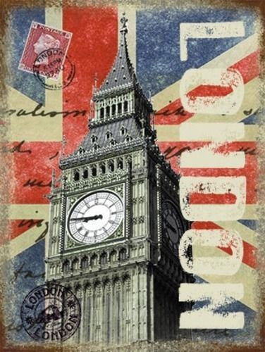 london-post-card-with-big-ben-queen-elizabeth-tower-in-palace-of-westminster-union-jack-great-britain-british-for-house-home-bar-or-pub-metal-steel-wall-sign