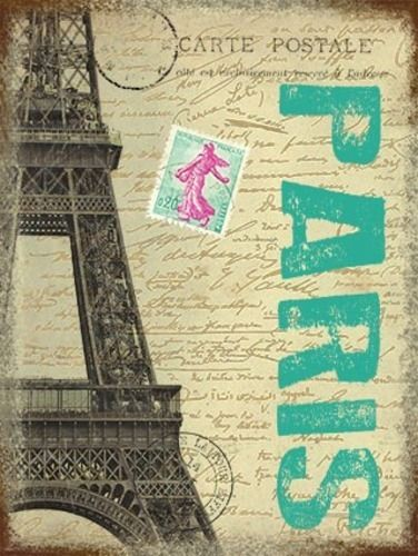 Paris Postcard with Eiffel Tower, France. For house,  Metal/Steel Wall Sign