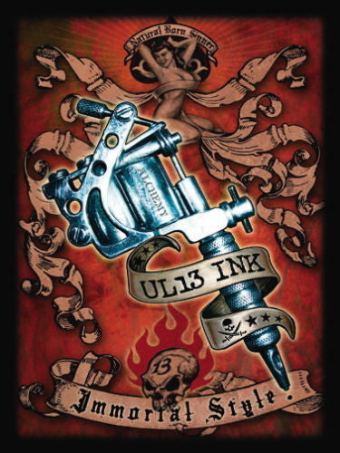 tattoo-gun-uk13-ink-immortal-style-skulls-banners-and-pin-up-girl-number-13-gothic-rock-metal-tattoo-design-for-house-home-tattoo-studio-or-bedroom-or-bar-metal-steel-wall-sign