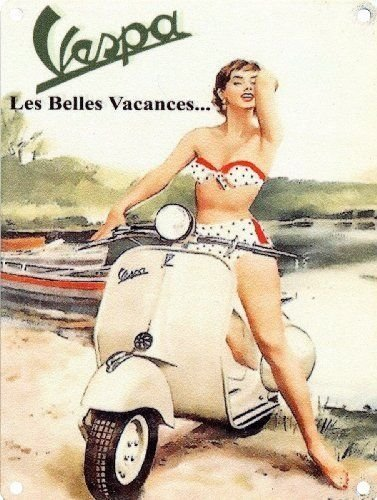 Vespa Les Belles Vacances. Lady in polka dot  Metal/Steel Wall Sign